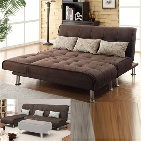 Futon Sectional Sofa Brown Microfiber 2 Pc Sectional Sofa Futon Chaise Bed Sleeper Pillow Set Ebay