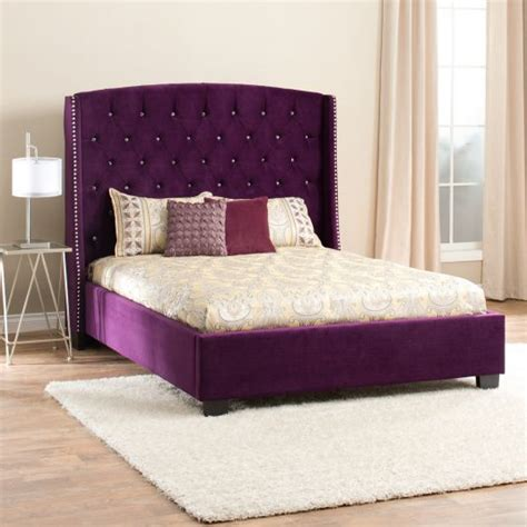 purple upholstered bed wood and upholstered