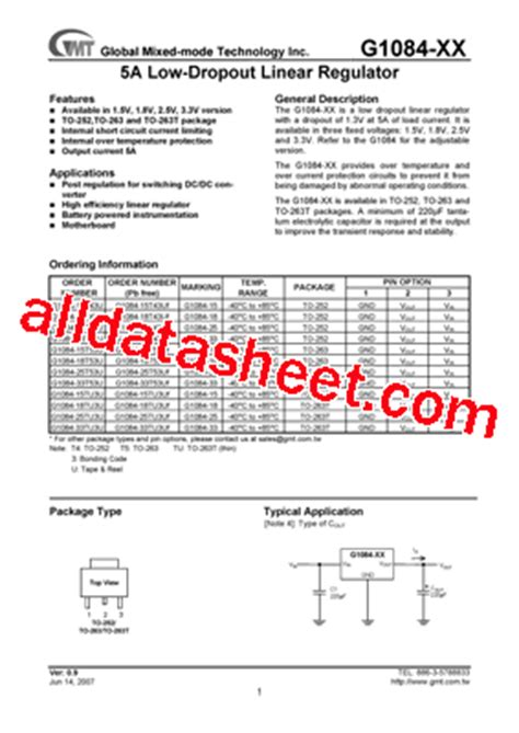 transistor g1084 33 g1084 33tu3uf datasheet pdf global mixed mode technology inc