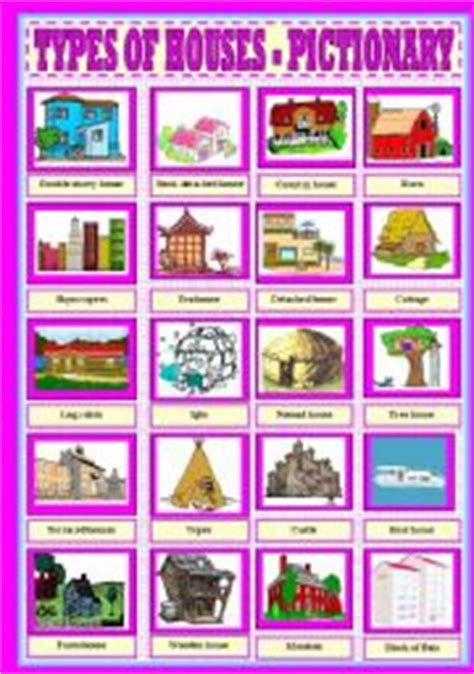 house styles list english exercises types of houses