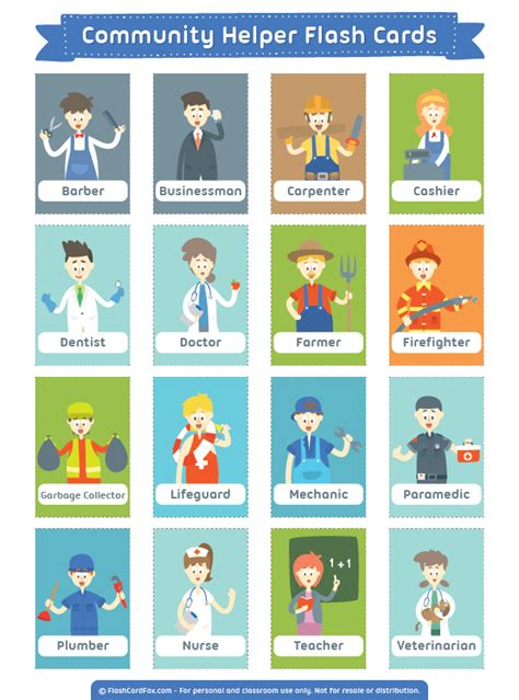 printable flashcards esl free printable community helper flash cards download them