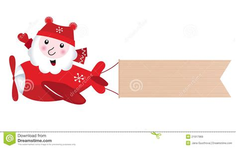 santa flying in christmas airplane stock vector image