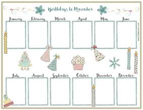 Birthday List Template By Month Birthday Calendar Templates Weekly Calendar Template