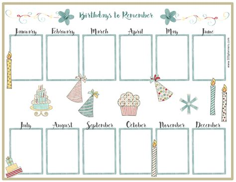 birthday calendar templates weekly calendar template