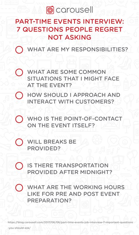 part time events 7 questions regret not asking carousell