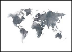 World map grey poster in the group posters sizes 50x70cm 20x28