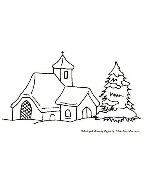 Printable Christmas Village Scene | free coloring pages of winter village