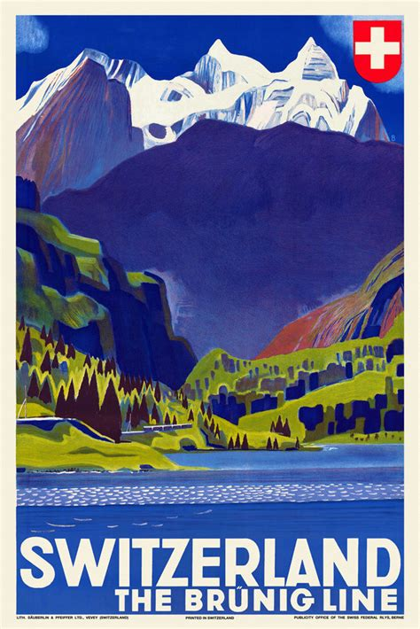 ebay switzerland vintage art deco swiss travel poster br 252 nig line 1930s