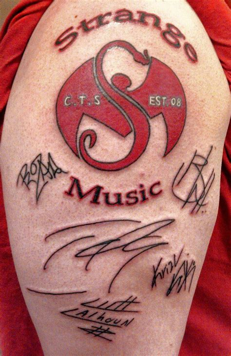 strange music tattoos strange with autographs by 2barquack on