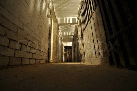 Dark scary bricked basement in old house   Stock Photo