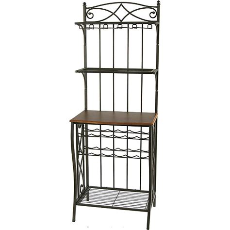 Bakers Rack With Storage by Metal Bakers Rack With Wine Storage Antique Brass Finish