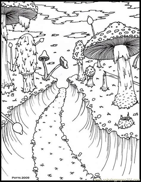 coloring pages hthroughmushroomforestsmall 1 natural