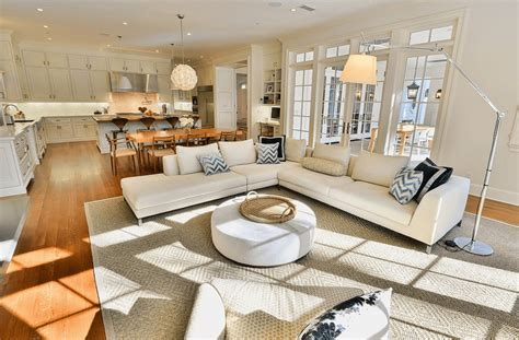 living room floor l chic and trendy open floor plan kitchen with white