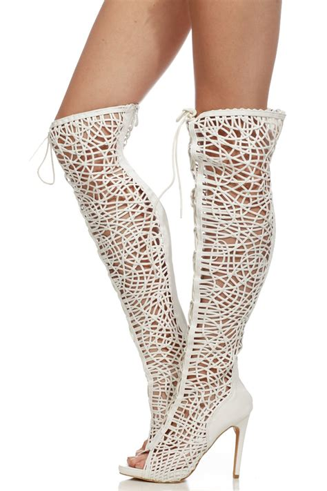 white faux leather lace up open toe thigh high boots