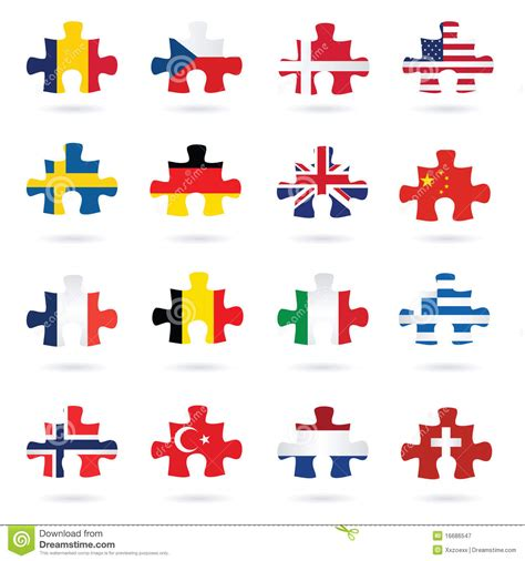 flags of the world jigsaw puzzle world flags as jigsaw puzzle pieces royalty free stock