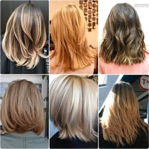 front and back views of medium length hair medium length feathered hairstyles with bangs with front