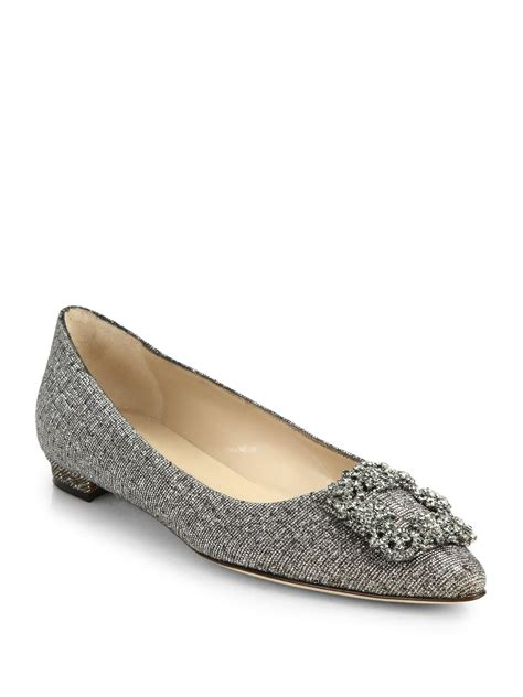manolo blahnik flat shoes manolo blahnik hangisi embellished flats in metallic lyst