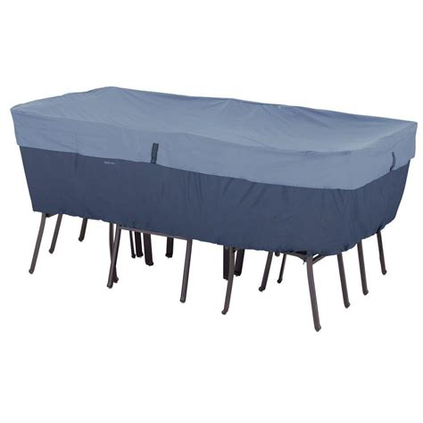 Patio Table And Chair Set Cover by Classic Accessories Belltown Medium Skyline Blue Rectangle
