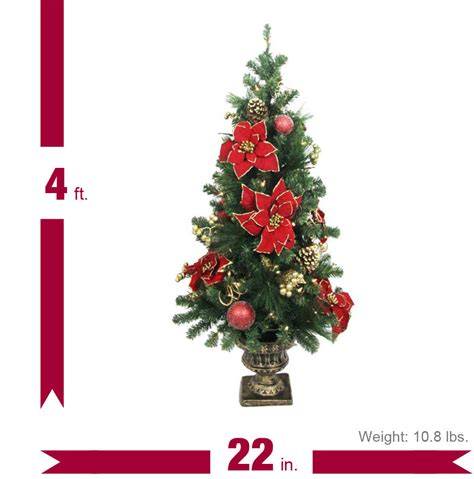 Home Accents Holiday 4 Ft Poinsettia Potted Artificial Poinsettia Tree Lights