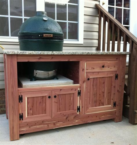 outdoor kitchen cabinet plans hand made green egg cabinet by carolina wood designs