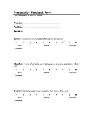 Presentation Feedback Form Fill Online Printable Fillable Blank Pdffiller Presentation Feedback Form Templates