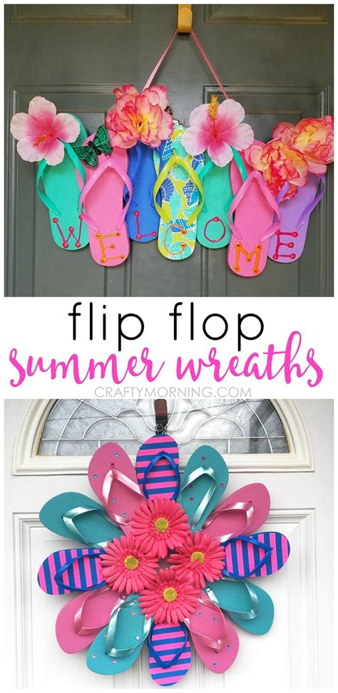 summer craft ideas for to make summer flip flop wreaths what a craft to hang on a