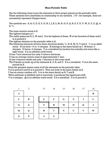 Table Answer Key periodic table worksheet letravideoclip
