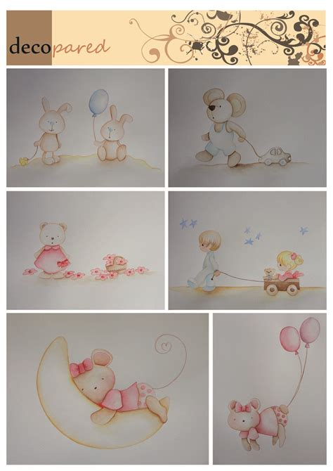 ositos para decorar habitacion bebe murales infantiles de conejitos ositos ratoncitos en