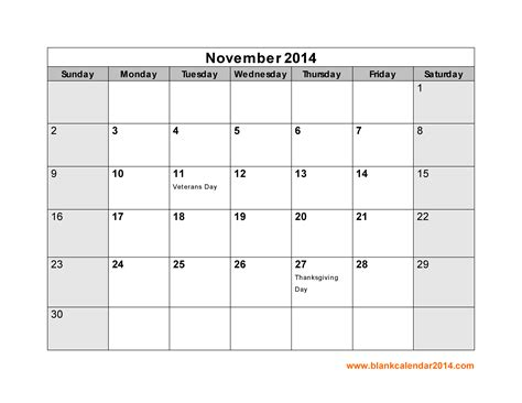 printable monthly calendar november 2014 7 best images of november 2014 calendar with holidays