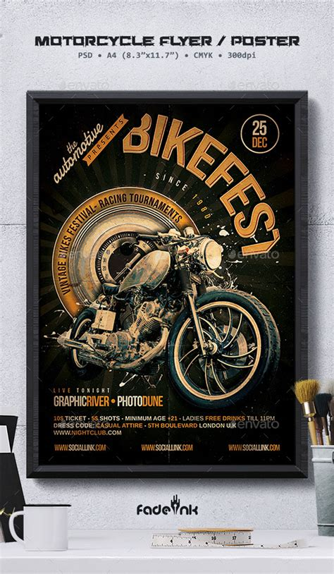 Bikefest Flyer Template By Fadeink Graphicriver Bike Flyer Template Free
