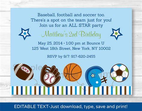 printable birthday invitations uk sports football baseball soccer printable birthday