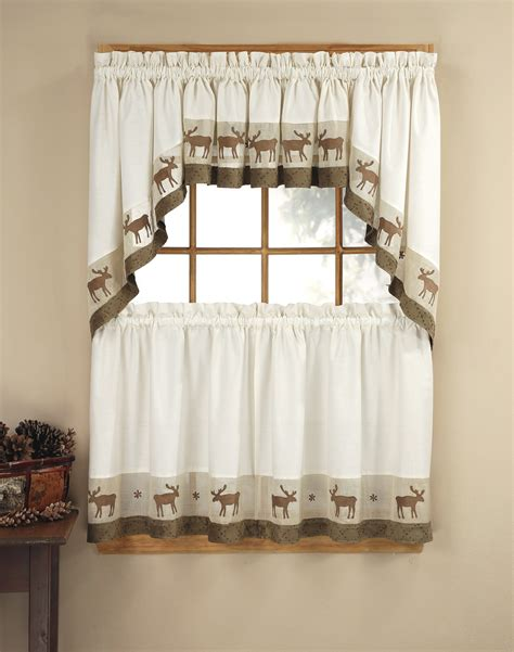 kitchen tier curtain sets wildlife 5 piece kitchen curtain tier set curtainworks com