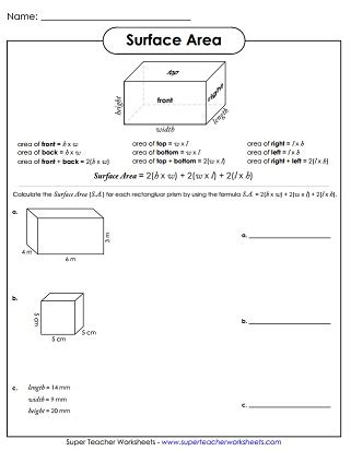 printable surface area worksheets surface area worksheets