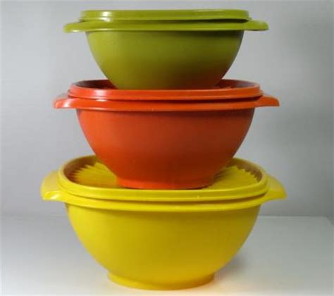 Tupperware Small Bowl Yellow Green vintage tupperware 6pc set servalier nesting bowls