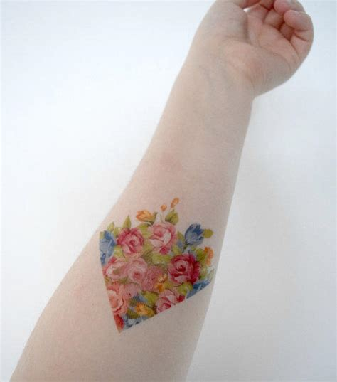pink triangle tattoo temporary vintage floral arrow from siideways