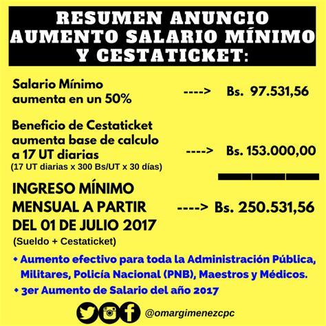 decreto de aumento de salario mnimo y de cesta ticket desde mayo 2016 presidente anuncia aumento de salario m 237 nimo y cestaticket