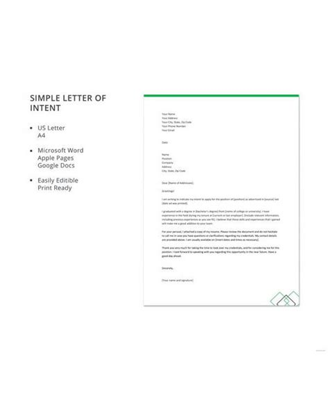 letter intent examples word pages google