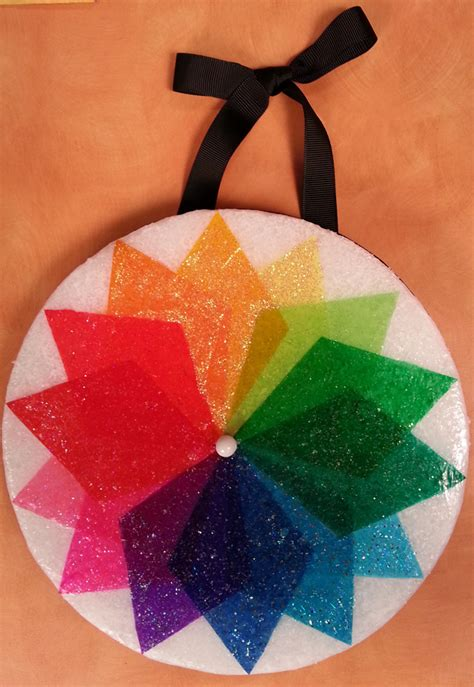 color wheel disk made with colored tissue paper and a