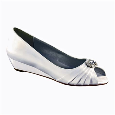 Wedding Shoes Low Wedges by Dyeable White Satin Low Wedge Heel Wedding Shoes