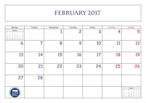 Kalender 2017 Februar 2017 Februar Planer