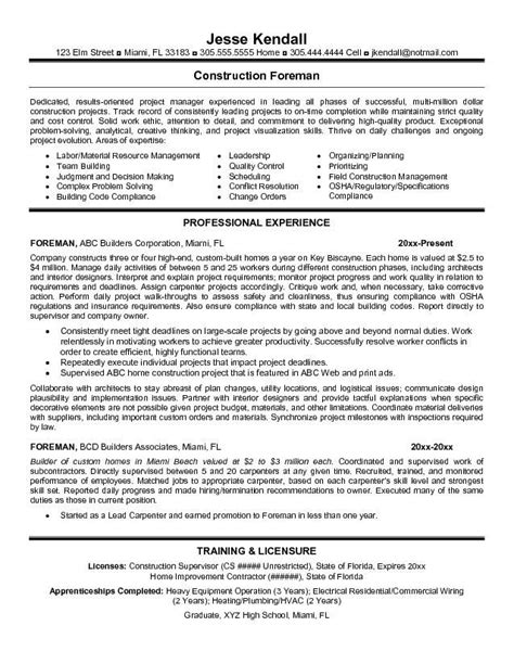 construction foreman resume exles sles resume templates for construction foreman search of interest sle
