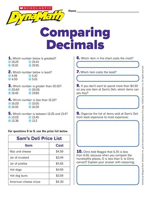 Comparing And Ordering Decimals Worksheets by 25 Best Ideas About Comparing Decimals On