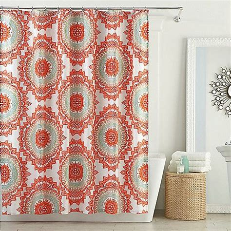 Coral And Grey Curtains Pin By Vance On Bathroom