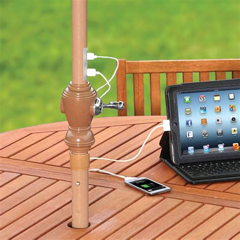 outdoor gadgets innovative outdoor patio umbrella allows you charge your