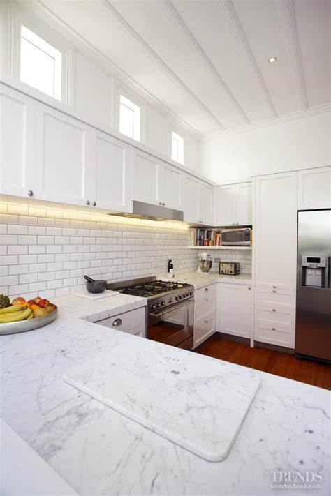 tiled bench tops subway tiles and ultra bianco carrara honed marble benchtops