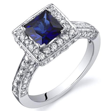 princess cut 1 00 cts blue sapphire engagement ring