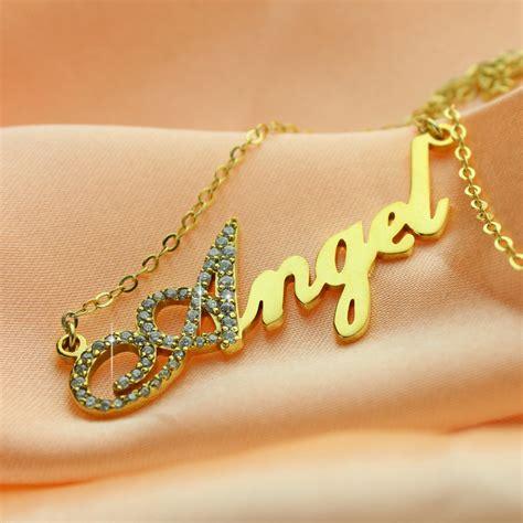 Alphabet Script K Cufflinks 18k gold plated script name necklace initial birthstone