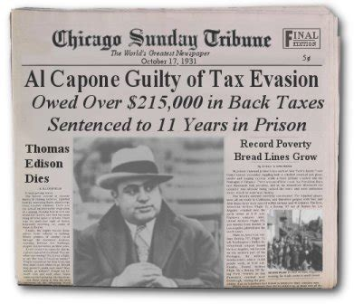 Al Capone Criminal Record Dinge En Goete Things And Stuff This Day In History Oct 17 1931 Capone Goes To Prison