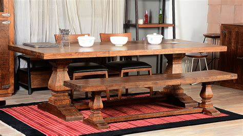 rustic dining room set with bench 96 rustic trestle dining room tables rustic dining