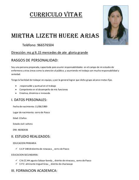 Modelo Curriculum Vitae España 2015 Curriculum Vitae Curriculum Vitae Formato En Espanol